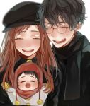 1girl 2boys baby brown_hair chullo coat father_and_son glasses harry_potter harry_potter_and_the_philosopher's_stone hat highres james_potter lily_evans long_hair mother_and_son multiple_boys redhead scarf short_hair smile winter_clothes winter_coat younger