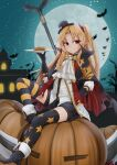 1girl asymmetrical_legwear azur_lane bangs bat black_gloves black_shorts blonde_hair blurry building cape carrying cleveland_(azur_lane) cleveland_(devil_fever)_(azur_lane) commentary_request depth_of_field en eyebrows_visible_through_hair eyes_visible_through_hair full_moon gloves hair_ornament halloween hand_on_hip hat highres jack-o'-lantern long_hair long_sleeves looking_at_viewer mini_hat mini_top_hat mismatched_legwear moon night night_sky one_side_up plate pointy_ears pumpkin pumpkin_pie red_eyes shorts sidelocks sitting sky smile solo star_(sky) starry_sky thigh-highs top_hat west_24 zettai_ryouiki