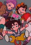 1girl 2boys absurdres ankle_boots aqua_legwear arm_at_side bandana belt black_belt black_hair black_outline black_shirt blue_eyes boots brown_footwear brown_gloves brown_jacket cargo_shorts chain clenched_hands closed_mouth copyright_name crop_top denim dot_nose dougi dragon_ball dragon_ball_gt fingerless_gloves gloves grandfather_and_granddaughter grey_background grey_footwear grey_neckwear highres jacket jeans kodama_(marugoto_omikan) loose_socks midriff monkey_tail multiple_boys navel neckerchief orange_bandana outline pan_(dragon_ball) pants pectorals pink_wristband purple_hair purple_legwear shiny shiny_hair shirt shoe_soles shorts sideways_glance simple_background smile socks son_goku spiky_hair tail trunks_(dragon_ball) wristband yellow_pants