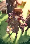 1girl 2boys :o absurdres animal_ears boots brown_eyes brown_footwear brown_hair brown_headwear brown_jacket commission dog_ears dog_girl dress_jacket hat highres holding holding_sword holding_weapon inukai_purin jacket jacket_on_shoulders jl_tan long_hair military military_hat military_uniform multiple_boys necktie open_mouth short_necktie solo_focus sword tsunderia uniform virtual_youtuber weapon