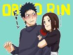 1boy 1girl black_eyes black_hair blush brown_hair character_name closed_mouth facepalm forehead green_background highres holding_another's_arm long_sleeves looking_at_another naruto_(series) naruto_shippuuden nohara_rin pinoko_(pnk623) short_hair short_sleeves simple_background smile uchiha_obito