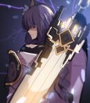 1girl armor bangs black_hair blunt_bangs blurry claymore_(sword) commentary_request depth_of_field devil_may_cry_(series) devil_may_cry_5 eyebrows_visible_through_hair from_behind genshin_impact greatsword hair_ornament highres hinghoi holding holding_sword holding_weapon japanese_clothes lightning long_hair looking_away parody raiden_shogun shoulder_armor sidelocks sketch solo sword violet_eyes weapon wide_sleeves