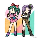 2girls aqua_hair arm_at_side asymmetrical_clothes bandaid bandaid_on_cheek bandaid_on_knee bangs belt black_outline black_ribbon blue_footwear boots braid braided_ponytail brown_belt brown_gloves bulma character_name circle clenched_hand clothes_writing contrapposto dot_nose dragon_ball dragon_ball_(classic) dragon_radar dress dual_persona elbow_pads expressionless fanny_pack full_body gauntlets gloves goggles goggles_around_neck hair_ribbon hair_strand hand_on_hip hand_up head_tilt holding holster knee_boots legs_apart loose_socks medium_hair multiple_girls one_side_up outline parirobo parted_lips pink_dress purple_hair purple_legwear purple_neckwear red_ribbon ribbon shirt shirt_tucked_in shoes short_dress short_sleeves shoulder_pads side-by-side signature simple_background single_glove single_pantsleg socks solid_oval_eyes square standing striped striped_dress swept_bangs thigh_holster triangle vertical-striped_dress vertical_stripes watch watch white_background white_shirt