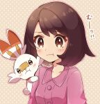 1girl :t bangs blush bob_cut brown_eyes brown_hair buttons closed_mouth collarbone collared_dress commentary_request dress eyebrows_visible_through_hair eyelashes gloria_(pokemon) haru_(haruxxe) outline pokemon pokemon_(creature) pokemon_(game) pokemon_on_arm pokemon_swsh polka_dot polka_dot_background pout purple_dress scorbunny short_hair upper_body