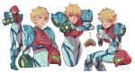 1girl arm_cannon armor artist_request blonde_hair blue_eyes glowing looking_at_viewer metroid metroid_dread mole mole_under_mouth power_armor samus_aran science_fiction short_hair sidelocks simple_background solo upper_body varia_suit weapon