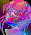 1girl 310o_sugar absurdres cyberpunk english_commentary gas_mask highres looking_at_viewer looking_to_the_side mask mouth_mask original parted_lips redhead see-through short_hair solo tube violet_eyes
