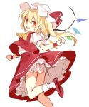 1girl :d ascot ass bangs blonde_hair bloomers blush bobby_socks bow commentary_request crystal eyebrows_visible_through_hair fang flandre_scarlet flat_chest foot_out_of_frame hair_between_eyes hat hat_bow looking_at_viewer looking_back mob_cap one_side_up open_mouth paragasu_(parags112) petticoat puffy_short_sleeves puffy_sleeves red_bow red_eyes red_footwear red_skirt red_vest short_hair short_sleeves simple_background skin_fang skirt smile socks solo standing standing_on_one_leg touhou twisted_torso underwear upskirt vest white_background white_headwear white_legwear wings wristband yellow_neckwear