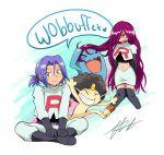 1boy 1girl angry green_eyes happy indigoblog james_(pokemon) jessie_(pokemon) meowth on_floor pokemon pokemon_(anime) pokemon_(creature) ponytail purple_hair redhead sitting team_rocket wig wobbuffet