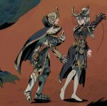 1boy 1girl armor blush boots cape character_request dragon gauntlets headwear high_elf highres ho-uja pointy_ears total_war total_war:_warhammer total_war:_warhammer_2 warhammer_fantasy white_eyes