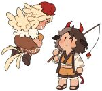 2girls adapted_costume animal animal_ears arm_at_side bangs bird bird_tail bird_wings blonde_hair brown_footwear brown_hair chibi chick cow_ears cow_girl cow_horns cow_tail crop_top eye_contact feathered_wings fishing_rod floating frilled_shorts frills from_behind from_side full_body grin hair_between_eyes hand_up haori holding holding_animal holding_fishing_rod horns japanese_clothes legs_apart long_sleeves looking_at_another looking_down looking_up midriff multicolored_hair multiple_girls navel nekolina niwatari_kutaka no_nose parted_lips profile puffy_short_sleeves puffy_sleeves red_eyes red_horns sandals shoe_soles short_hair short_sleeves shorts sideways_mouth simple_background smile standing tail tail_feathers touhou two-tone_hair ushizaki_urumi wavy_hair white_background wide_sleeves wings yellow_wings |_|