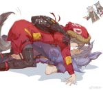 4girls all_fours animal_ears arknights blue_hair chun_qiu closed_mouth commentary_request english_text eye_contact eyebrows_visible_through_hair finger_gun grey_hair highres lappland_(arknights) looking_at_another lying multiple_girls on_back parted_lips projekt_red_(arknights) provence_(arknights) purple_hair shadow silver_hair simple_background sweatdrop tail teeth texas_(arknights) weibo_logo weibo_username white_background yuri