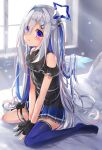 1girl absurdres amane_kanata angel angel_wings arms_between_legs asymmetrical_legwear bare_arms bare_shoulders belt black_dress black_gloves black_legwear blue_belt blue_hair blue_legwear blue_wings blurry bokeh colored_inner_hair commentary_request depth_of_field dress eyebrows_visible_through_hair eyes_visible_through_hair feathered_wings full_body gloves gradient gradient_wings hair_ornament hair_over_one_eye hairclip halo highres hololive jewelry kneehighs light_particles light_rays long_hair mini_wings mismatched_legwear multicolored multicolored_hair multicolored_wings necklace no_shoes off-shoulder_dress off_shoulder official_alternate_costume on_bed partially_fingerless_gloves pink_hair pleated_dress short_dress signature silver_hair single_hair_intake single_kneehigh single_thighhigh sitting solo star_(symbol) star_halo star_necklace streaked_hair sunbeam sunlight thigh-highs thigh_pouch two_side_up uneven_legwear v_arms very_long_hair violet_eyes virtual_youtuber wariza white_wings window wings yukikawa_sara