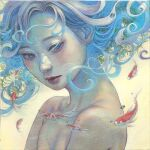 1girl bangs blue_hair blue_pupils commentary english_commentary eyelashes face fish floating_hair goldfish highres hirano_miho lips long_hair looking_at_animal mouth nose oil_painting_(medium) original painting_(medium) parted_lips solo traditional_media