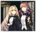 2girls alternate_costume artist_name black_bow black_neckwear black_skirt blonde_hair blue_eyes blush bow bowtie brown_hair buttons closed_mouth collared_shirt copyright_name dated hair_between_eyes hairband highres himeyamato kantai_collection long_hair long_sleeves multiple_girls open_mouth pleated_skirt saratoga_(kancolle) shirt side_ponytail skirt tiara upper_body victorious_(kancolle) white_shirt