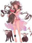 1girl ;d animal_ears animal_hug anklet arknights bare_legs bare_shoulders barefoot bikini brown_hair eyebrows_visible_through_hair eyjafjalla_(arknights) eyjafjalla_(summer_flowers)_(arknights) floating_hair frilled_bikini frills full_body goat goat_ears goat_horns highres horns infection_monitor_(arknights) jewelry latutou1 long_hair looking_at_viewer navel official_alternate_costume one_eye_closed open_mouth pink_bikini pink_eyes sheep simple_background smile solo standing stomach swimsuit white_background
