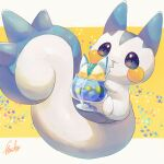 absurdres commentary_request cup drinking drinking_straw_in_mouth etsuko_pkmn glass highres holding liquid no_humans pachirisu pokemon pokemon_(creature) signature solo violet_eyes