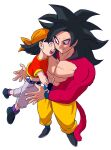 1boy 1girl abs bandana belt black_belt black_footwear black_gloves black_hair chain closed_eyes crop_top denim dragon_ball dragon_ball_gt fingerless_gloves flat_chest floating_hair from_above full_body gloves grandfather_and_granddaughter happy heads_together highres jeans kz_(dbz_kz) looking_at_another midriff monkey_tail no_nipples open_mouth orange_bandana pan_(dragon_ball) pants pectorals purple_legwear shoes short_hair short_sleeves simple_background socks son_goku spiky_hair super_saiyan super_saiyan_4 tail teeth upper_teeth white_background yellow_eyes yellow_pants
