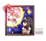 2girls akemi_homura aura black_hair black_hairband chibi closed_eyes closed_mouth english_text eyebrows_visible_through_hair floating_hair gloves glowing goddess_madoka hair_ribbon hairband hands_up happy highres juliet_sleeves kaname_madoka light_blush long_hair long_sleeves mahou_shoujo_madoka_magica mahou_shoujo_madoka_magica_movie mamasna_(mattna_mmm) mitakihara_school_uniform multiple_girls nebula neck_ribbon no_mouth outstretched_arms own_hands_clasped own_hands_together picture_frame pink_hair pink_ribbon profile puffy_sleeves red_ribbon ribbon sad school_uniform shadow shiny shiny_hair sign simple_background sky smile sparkle star_(sky) starry_sky straight_hair tearing_up two_side_up violet_eyes white_background white_gloves white_ribbon wide_sleeves wrapped_up