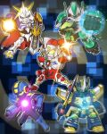 1boy arm_blade arm_cannon chibi clenched_hands crossover denkou_choujin_gridman dennou_boukenki_webdiver digimon digimon_(creature) gamiani_zero gladion_(webdiver) glowing green_eyes gridman_(character) highres holding holding_sword holding_weapon mask mecha mega_man_(series) mega_man_battle_network megaman.exe mouth_mask multiple_crossover omegamon open_hand srw_cover super_robot super_robot_wars sword tokusatsu trait_connection weapon yellow_eyes zegapain zegapain_altair