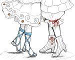 2girls armor armored_dress bad_id bad_twitter_id bloomers boots dress flat_color haniyasushin_keiki joutouguu_mayumi leg_strap legs lower_body monochrome multiple_girls red_ribbon ribbon sandals shokabatsuki simple_background standing tiptoes touhou underwear white_background yuri