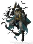 1boy abs animal_print bat bat_print batman batman_(series) bodysuit cape cape_hold crossover dc_comics full_body grappling_hook gun highres holding holding_gun holding_weapon ji_no mask muscular muscular_male official_art scarf sinoalice solid_eyes solo square_enix superhero torn_cape torn_clothes trigger_discipline weapon white_background
