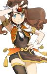 1girl alternate_costume armlet bangs blue_eyes blush brown_hair commentary_request covered_navel daicon_(kanaeaisiteruzo) eyelashes floating_hair hand_on_hip high_ponytail highres hilda_(pokemon) holding holding_poke_ball jewelry long_hair parted_lips poke_ball pokemon pokemon_(game) pokemon_bw ring sidelocks simple_background single_thighhigh solo sweatdrop thigh-highs white_background wrist_cuffs