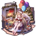 1girl ark_order balloon bangs basket blonde_hair book brown_footwear cake capelet chimney christmas christmas_ornaments christmas_stocking christmas_tree crossed_bandaids dress eating food fork fruit fur-trimmed_capelet fur-trimmed_dress fur-trimmed_sleeves fur_trim gift gift_bag hat holding holding_fork holding_plate indoors letter little_match_girl_(ark_order) long_hair looking_at_viewer loose_thighhigh official_art plate pom_pom_(clothes) red_capelet red_dress slippers slippers_removed smile snowflake_print snowman solo star_(symbol) strawberry stuffed_animal stuffed_toy tachi-e teddy_bear thigh-highs very_long_hair white_legwear wood wreath wryyyyyyyyyyyyyyyyyyyy yellow_eyes you_ni_ge_shaobing