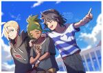 3boys :d bangs baseball_cap blonde_hair blurry blush border bracelet closed_eyes closed_mouth clouds commentary_request day ear_piercing elio_(pokemon) fence gladion_(pokemon) green_eyes green_hair hair_over_one_eye hat hau_(pokemon) highres hood hood_down hoodie jewelry male_focus mugiccha2 multiple_boys open_mouth outdoors pants piercing pointing pokemon pokemon_(game) pokemon_sm shirt short_sleeves sky smile striped striped_shirt t-shirt upper_teeth watermark white_border z-ring