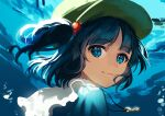 1girl blue_eyes blue_hair eyebrows_visible_through_hair green_headwear hair_between_eyes hair_bobbles hair_ornament hat jill_07km kawashiro_nitori key looking_at_viewer looking_back one-hour_drawing_challenge painting_(medium) smile solo touhou traditional_media twintails underwater water