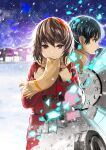 1boy 1girl black_hair blue_eyes boku_dake_ga_inai_machi brown_eyes brown_hair brown_sweater building clock coat commentary film_reel from_side fujinuma_satoru glowing hair_strand hands_on_own_chest highres hinazuki_kayo long_sleeves looking_ahead mittens_removed night night_sky no_gloves partially_colored pink_mittens red_coat scarf shards short_hair sky snow snowing star_(sky) starry_sky sweater tearing_up tears toggles torn_clothes torn_coat torn_mittens uanuan unraveling wind yellow_neckwear yellow_scarf