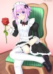 1girl absurdres alternate_costume apron apron_lift black_dress blush chair choujigen_game_neptune clothes_lift crossed_legs dress enmaided flower foot_out_of_frame frilled_apron frilled_dress frills hair_between_eyes hair_ornament highres holding holding_flower juliet_sleeves long_sleeves looking_at_viewer maid maid_apron maid_headdress neck_ribbon neptune_(neptune_series) neptune_(series) pink_background point_egress puffy_sleeves purple_hair ribbon ribbon-trimmed_legwear ribbon_trim self_upload short_hair_with_long_locks sitting skirt skirt_lift smile solo thigh-highs thighs violet_eyes white_apron white_headwear white_legwear wooden_floor