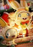 :d blue_eyes blush box bright_pupils christmas clothed_pokemon commentary_request fire fireplace gift gift_box highres hood hood_up indoors no_humans open_mouth pokemon pokemon_(creature) purobe red_ribbon ribbon scorbunny smile sobble tongue upper_teeth white_pupils