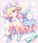 1girl animal apron bag bell blonde_hair blue_apron blue_bow blue_eyes blue_footwear blush bow cat closed_mouth commentary_request cutesu_(cutesuu) diagonal_stripes double_bun dress eyepatch feathered_wings frilled_bow frilled_legwear frills full_body hair_bell hair_bow hair_ornament highres jingle_bell layered_sleeves loafers long_sleeves lying medical_eyepatch on_side original pink_dress pink_legwear puffy_short_sleeves puffy_sleeves shoes short_over_long_sleeves short_sleeves shoulder_bag sleeves_past_fingers sleeves_past_wrists smile solo striped striped_background striped_bow usashiro_mani white_bow white_cat white_wings wings