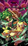 bright_pupils brown_eyes closed_mouth clouds commentary_request fangs gigantamax gigantamax_rillaboom grin grookey highres holding holding_stick leaves_in_wind looking_at_viewer open_mouth pokemon pokemon_(creature) purobe rillaboom smile stick teeth thwackey white_pupils