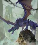 clouds cloudy_sky dragon dragon_horns falling_leaves horns leaf miso_katsu no_humans open_mouth original purple_scales revision scales sharp_teeth sky standing stone teeth torn_wings wings