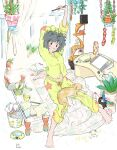 1girl absurdres arms_up barefoot blush book breasts cat cup drawing_tablet full_body grey_hair highres holding holding_pen indoors kawatsu_yuuki leaf midriff_peek navel open_book open_mouth original pajamas paper pen plant potted_plant print_pajamas short_hair signature sitting smile solo steam stretch window yellow_pajamas