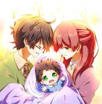 1girl 2boys baby black_hair closed_eyes couple family father_and_son glasses green_eyes harry_james_potter harry_potter highres holding_baby james_potter kapirusu lily_evans long_hair mother_and_son multiple_boys redhead scar scar_on_face scar_on_forehead smile