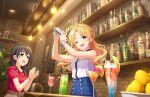 blonde_hair blush idolmaster_cinderella_girls_starlight_stage kiryuu_tsukasa_(idolmaster) long_hair shirt smile violet_eyes wink