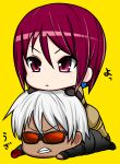 angry chibi glasses gloves highres k'_(kof) okyou stack the_king_of_fighters whip_(kof) white_hair yellow_background