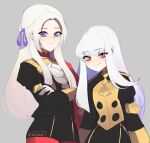 2girls artist_name ascot bangs buttons cape closed_mouth commentary crossed_arms edelgard_von_hresvelg english_commentary epaulettes eyebrows_visible_through_hair fire_emblem fire_emblem:_three_houses garreg_mach_monastery_uniform gloves grey_background hair_between_eyes hair_ribbon juliet_sleeves lazymimium long_hair long_sleeves looking_at_viewer lysithea_von_ordelia multiple_girls pantyhose pink_eyes puffy_sleeves purple_ribbon red_cape red_legwear ribbon sidelocks signature simple_background smile uniform violet_eyes white_gloves white_hair white_neckwear