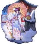 1girl ark_order artist_request bag bangs blue_bow blue_kimono boar bow clannad floral_print fujibayashi_kyou geta hair_bun hair_intakes hair_ribbon hair_up highres holding holding_mask holding_umbrella japanese_clothes kimono lace-trimmed_sleeves lace_trim long_sleeves mask obi obiage obijime official_art oil-paper_umbrella outdoors purple_hair ribbon sash shrine sidelocks snow socks solo tachi-e umbrella violet_eyes white_legwear white_ribbon wide_sleeves