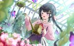 1girl :d animal bangs beret black_hair blurry blurry_background braid bug butterfly collared_shirt commentary_request crescent crescent_hair_ornament depth_of_field eyebrows_visible_through_hair fang flower greenhouse hair_bun hair_ornament hat highres holding indoors long_hair long_sleeves looking_at_viewer luna_(mi-chanman) open_mouth original pink_flower pink_rose pink_shirt puffy_long_sleeves puffy_sleeves purple_headwear purple_skirt rose shirt side_bun signature skirt smile solo twintails very_long_hair violet_eyes water watering_can