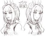 2girls angry armor bad_id bad_twitter_id blush closed_mouth commentary_request double_bun eyebrows_visible_through_hair eyelashes hair_ribbon hand_on_own_face haniwa_(statue) haniyasushin_keiki happy head_scarf joutouguu_mayumi monochrome multiple_girls open_clothes puffy_short_sleeves puffy_sleeves ribbon shokabatsuki short_hair short_sleeves smile touhou white_background