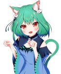 1girl :3 :d absurdres animal_ear_fluff animal_ears animal_print black_ribbon blue_dress blue_hair blue_sleeves blush brooch butterfly_print cat_ears cat_girl cat_tail colored_tips detached_collar detached_sleeves dress ear_piercing fang fingernails green_hair hair_ornament hair_ribbon highres hololive jewelry juliet_sleeves long_sleeves medium_hair open_mouth parted_hair paw_pose piercing pom_pom_(clothes) pom_pom_hair_ornament puffy_sleeves red_eyes ribbon short_dress skin_fang skull_brooch skull_hair_ornament smile strapless strapless_dress tail tyama-tya upper_body uruha_rushia v-shaped_eyebrows virtual_youtuber wide_sleeves