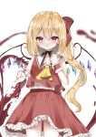 1girl :o adapted_costume ambiguous_red_liquid ascot bare_shoulders black_choker black_ribbon blurry blurry_background blush bow chestnut_mouth choker commentary_request cowboy_shot crystal cup depth_of_field drinking_glass eyebrows_visible_through_hair flandre_scarlet hair_between_eyes hair_bow hand_up highres looking_at_viewer no_hat no_headwear okome2028 one_side_up parted_lips petticoat red_bow red_eyes red_skirt red_vest ribbon ribbon_choker short_hair simple_background skirt solo spilling touhou vest white_background wine_glass wings wrist_cuffs yellow_neckwear