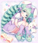 1girl :d animal animal_ears animal_slippers ass bangs blue_bow blue_eyes blush bow bunny_slippers diagonal_stripes drill_hair eyebrows_visible_through_hair frilled_skirt frills green_footwear green_hair hand_up heart highres kneehighs long_hair looking_at_viewer loose_socks lying miruku_(cutesuu) on_side open_mouth original puffy_short_sleeves puffy_sleeves purple_legwear purple_skirt rabbit rabbit_ears shirt short_sleeves skirt slippers smile solo striped striped_background suspender_skirt suspenders usashiro_mani very_long_hair white_shirt wrist_cuffs