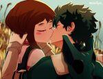 1boy 1girl blush boku_no_hero_academia brown_hair closed_eyes couple field green_hair hand_on_another's_head hetero highres kiss midoriya_izuku steffybs uraraka_ochako