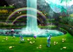 1boy 1girl banned_artist braid braided_ponytail clouds commentary_request day dulse_(pokemon) grass helmet jumpsuit light_rays long_hair looking_down nin_(female) orange_hair outdoors pikachu poipole pokemon pokemon_(creature) pokemon_(game) pokemon_usum pyukumuku rainbow running shoes sky slowpoke squatting standing ultra_beast ultra_recon_squad_uniform water waterfall white_footwear zossie_(pokemon)