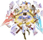 1girl alice_(alice_in_wonderland) alice_(ark_order) alice_in_wonderland animal_ears apron ark_order artist_request asymmetrical_legwear back_bow bandaged_leg bandages blonde_hair blue_bow blue_eyes blue_skirt book boots bow bowtie braid brown_footwear cake card cat center_frills cheshire_cat_(alice_in_wonderland) club_(shape) corset crown cup diamond_(shape) dual_wielding earrings fake_animal_ears fire food frilled_skirt frills full_body garter_straps hat heart holding holding_sword holding_weapon horizontal_stripes jewelry juliet_sleeves long_hair long_sleeves looking_at_viewer mini_crown mismatched_legwear monocle mushroom official_art open_book paper plate playing_card pocket_watch puffy_sleeves rabbit rabbit_ears rapier shirt skirt solo spade_(shape) striped striped_legwear sword tachi-e tea teacup teapot thigh-highs thigh_strap top_hat vertical-striped_legwear vertical_stripes very_long_hair watch weapon white_apron white_bow white_rabbit_(alice_in_wonderland) white_shirt