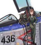 1girl :d absurdres aircraft airplane black_footwear black_headwear boots brown_eyes brown_hair cockpit commission english_text fighter_jet gar32 green_jumpsuit hand_on_hip headwear_removed highres jet jumpsuit ladder long_hair looking_at_viewer military military_vehicle open_mouth original shirt simple_background smile solo standing white_background white_shirt wide_shot